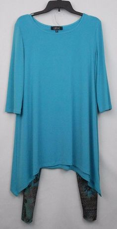LBISSE Top Leggings Size XL Blue Solid Floral 3 4 Sleeve Sidetail Hem Tunic USA #LBISSE