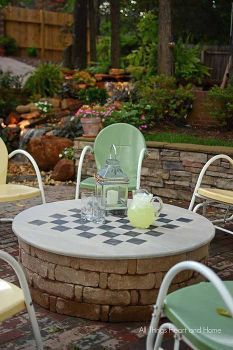 backyard ideas fire pit cover table gameboard, diy, outdoor living, painted furniture, woodworking projects Micoley\'s picks for #DIYoutdoorprojects www.Micoley.com