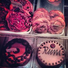 cake & cinnamon buns at Canter's in Los Angeles
