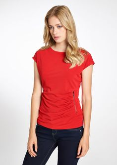 T-shirt met korte mouwen en rits details - TANGO RED - 02004437_1406 LolaLiza