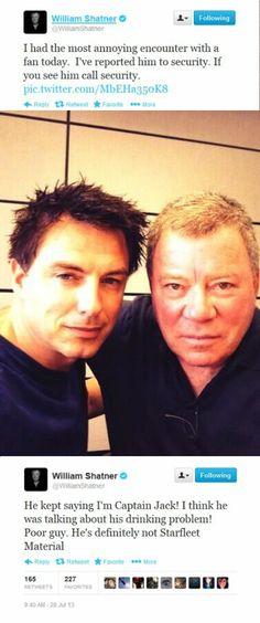 He kept saying I'm Captain Jack ... I love William Shatner!
