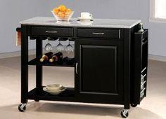 (Kitchen Island Ideas) Amazon.com: Black Kitchen Island Table w/Granite Top & Drawers: Home & Kitchen