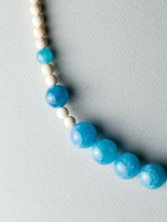 Beige Blue Necklace by Carla Szabo