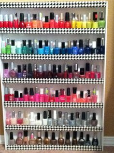 DIY Nail Polish Organizer less than $10: made with foam board , hot glue, and duct tape. I am TOTALLY making this.