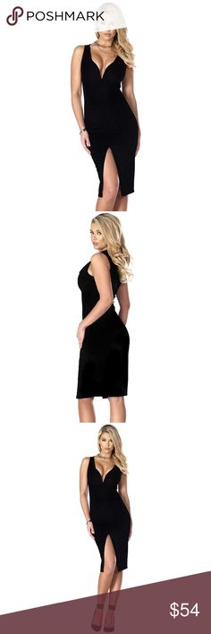 "🆕Black Deep V Neck Midi Dress #640-BS Bodycon midi dress with wire V neckline and front peek-a-boo slit. Polyester/Spandex Blend. Hand Wash. Measurements: Bust 32-34, Waist 24-26, Hip 34-36, Length armpit down 33"". Price is Firm. Blvd Collection Dresses Midi"