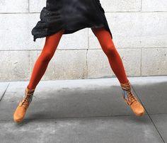 persimmon , rust, red-orange - tights {via Shannon Eileen Blog }