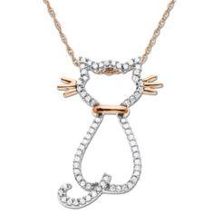 SALE!! XPY 14k Rose Gold Diamond Cat Pendant (1/5 cttw) REVIEW