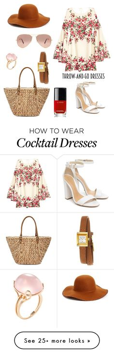 """""""throw dress"""" by mathildenihoul on Polyvore featuring Phase 3, Goshwara, Schutz, Straw Studios, Ray-Ban, Gucci and Chanel"""