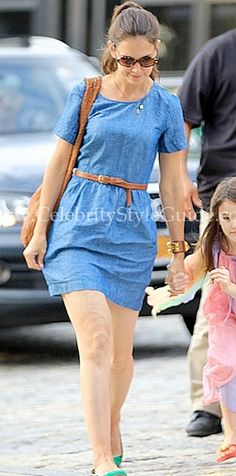 Katie Holmes wore the cute Madewell Chambray Avalon Dress Chelsea Piers in New York City July 10, 2012