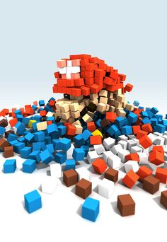An Abstract Pixelated Mario Created With Colored Blocks. #Taymai?