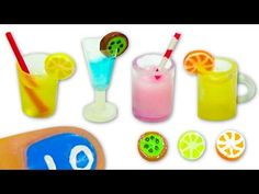 Miniature doll glass, cup, mug or jar and fruit slices Tutorial DIY - YolandaMeow♡ - YouTube