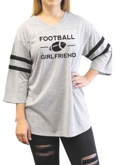 Loyal Army Women's Football Girlfriend Classic Oversized Varsity Football Jersey T-Shirt - Grey with Black Stripes : Loyal Army Women's Football Girlfriend Classic Oversized Varsity Football Jersey T-Shirt - Grey with Black Stripes #Loyal #Army #Women's