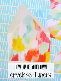 Easy envelop liner tutorial for baby shower invitations!
