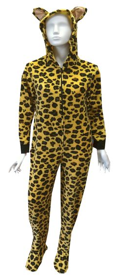 Leopard Hooded Onesie Footie Pajama  Just for the fun of it!! These footed onesie pajamas for women are designed to look just like a leopard, complete with ears on the hood and a tail that buttons on and off. These soft micro polar fleece one piece footie pajamas have black ribbed cuffs at the wrist and have gripper bottoms. Machine washable and easy care. Junior cut. $35