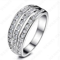 Unique 18K White Gold Plated Use Multi Swarovski Crystal Fashion Wedding Ring R088W1