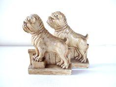 Vintage Bull Dog Book Ends Syroco Wood by bigbangzero on Etsy, $45.00