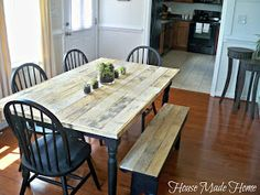 DIY:  Dining Table Facelift - tutorial shows how pallet wood was used to reface an old table.