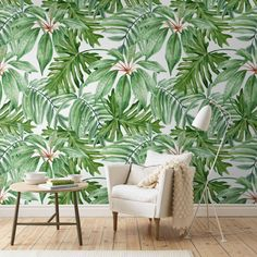 "Light Banana Leaves Removable Wallpaper | Watercolor wall mural – Peel & Stick | 141.73"" x 98.43"" (360 x 250cm)"