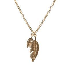 Gold Double Leaf Pendant Necklace