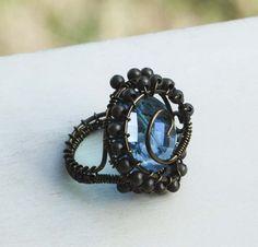 Deep Sea Exploration Sky Blue Crystal Wire Wrap Art Ring Rustic Gypsy OOAK #Jeanninehandmade #Wrap