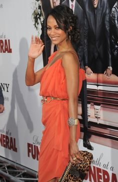 "Actress Zoe Saldana arrives at the ""Death At A Funeral"""