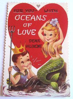 Love this vintage mermaid valentine!