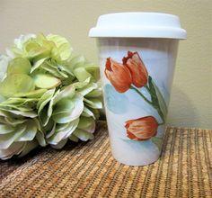 Mug Travel Coffee Tea Lid Ceramic Porcelain Hand Painted Red Tulips  BLMM by PorcelainChinaArt on Etsy