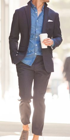Suited for summer. Loosen up your look with a denim shirt from Banana Republic.
