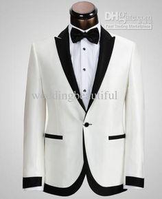 100 Praise High Quality Best Men Groom Tuxedos Gun Collar One On Bridegroom Groomsman Wedding Suits White Jacket Black Pants V1000