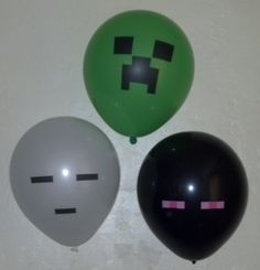 Includes:    15 - Green Creeper Balloons  5 - Black Enderman Balloons  5 - White Ghast Balloons    Check out my other listing for other minecraft
