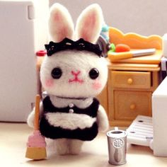 三朵 女仆小兔手机包包挂件挂饰 羊毛毡材料包戳戳乐手工DIY套装
