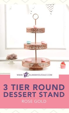 Add space and a more organized look to your tables by using this rose gold stand to display your desserts! Sure to create a romantic wedding, party or home kitchen tablescape. #tabelesetting #cakestand Dessert Stand, Tiered Stand, Round Tray, Gold For Sale, Dining Decor, Event Decor, Party Supplies, Wedding Decorations, Tables
