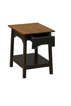 Amish Farmhouse Pine End Table with Drawer Solid pine furniture built by hand in Pennsylvania Amish country. Choice of stain, paint or distressed finish. #DutchCrafters