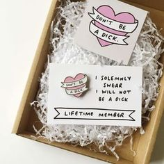 """Don't Be A Dick Heart Enamel Pin Badge - women's jewellery  Honestly, the phrase """"don't be a dick"""" pretty much sums up my entire philosophy on life."""
