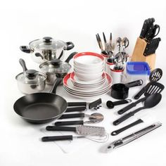 Gibson Home Essential Total Kitchen Combo Set: 83 piece kitchen set includes everything you need aluminum fry pan stainless steel cookware set tools and gadgets set flatware set cutlery set with pine wood block plastic storage square bowls with lids ba Kitchen Cookware Sets, Kitchen Sets, Kitchen Dining, Kitchen Decor, Dining Rooms, Kitchenware Set, Kitchen Layout, Kitchen Island, Fixer Upper