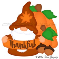 Thankful Gnome Scrapbook Titles, Scrapbooking, Thanksgiving Decorations, Cute Designs, Paper Piecing, Craft Fairs, Gnomes, Elves, Making Out