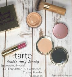 Tarte Double Duty Beauty Complextion perfectors: Empowered Hybrid Gel Foundation and Confidence Creamy Powder foundation | daydreaming beauty.com