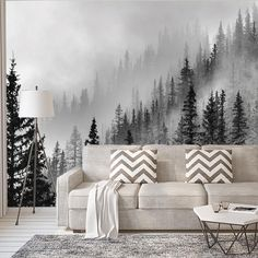 Forest - Wall Mural - Wallpaper Enchanted Forest - Wall Mural [Full Panel Removable Wall-Covering] Measurements (per panel): W: x H: Bedroom Murals, Bedroom Decor, Bedroom Ideas, Forest Mural, Forest Decor, Tree Forest, Diy Wall Painting, Wall Art, Mural Wall
