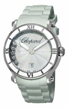 Chopard Women's 288525-3002 Happy Sport Round White Waved Dial Watch  @ashleesloves.com  #chopard