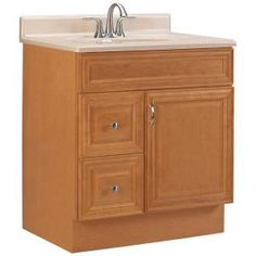 Elite+Raised+Panel+30+in.+W+x+21+in.+D+Vanity+Cabinet+with+Drawers+Left+in+Cinnamon-ME30LHDC-CM+at+The+Home+Depot