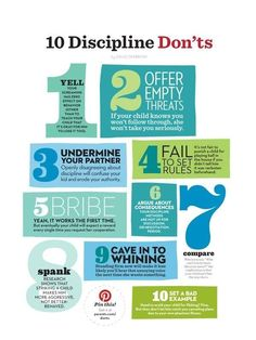 This shows 10 different ways NOT to discipline your child. Parenting naturally comes with a lot of stress and sometimes parents want to use quick discipline techniques that seem to work. However, these typical techniques often yield to less obedient children and add more frustration to the parent.