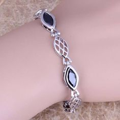 Delightful Black Sapphire 925 Sterling Silver Overlay Link Chain Bracelet 6.5 - 8 inch Free Shipping & Gift Bag S0634