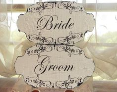 $41.00 Wedding Signs Bride & Groom Scroll design 16x8 to hang on each door at church