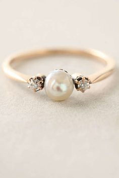 Anthropologie - Pearl & Diamond Ring