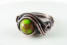 Wire Wrapped Ring Green Imperial Jasper Copper Ring Dragons