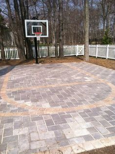 basketball court for the backyard, doubles as a patio Backyard Play, Backyard Projects, Outdoor Projects, Backyard Ideas, Backyard Basketball, Outdoor Basketball Court, Basketball Hoop, Outdoor Spaces, Outdoor Living