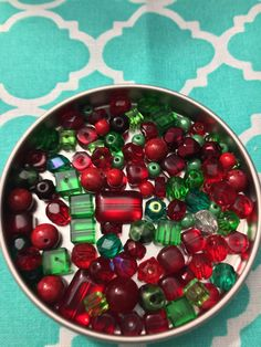 Vintage and New Christmas Soup Bead Mix Green and Red glass and Plastic 40+ pieces Destash Supplies/ Jewelry Making Supplies by CreationsFromVintage on Etsy