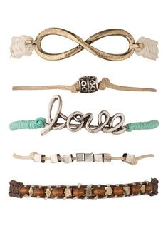 mixed metal love and infinity bracelet set (original price, $14) available at #Maurices