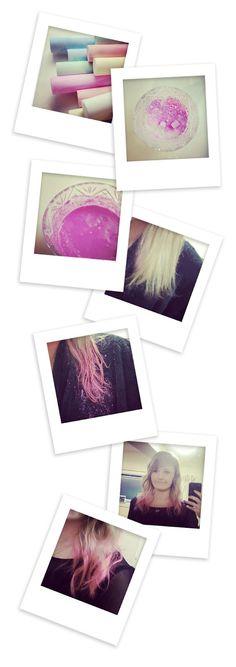 Pastel pink hair tips (temporary dye) using chalk! Neat!