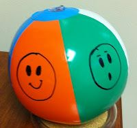 Use a permanent marker to draw feeling faces onto an inflatable beach ball. Toss the ball to a child. When he catches it have him iden. Feelings Preschool, All About Me Preschool, Preschool Lessons, Preschool Classroom, In Kindergarten, Preschool Activities, Kid Activites, Classroom Birthday, Social Emotional Activities